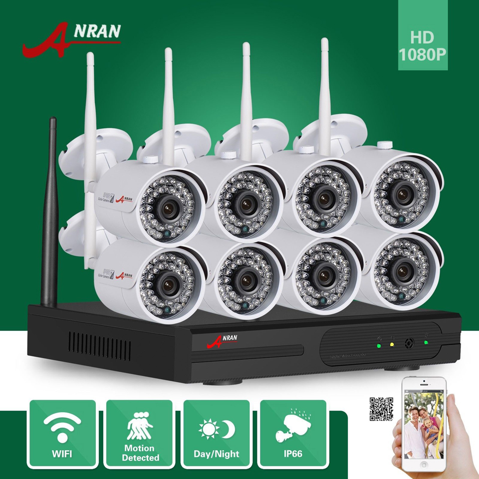 ANRAN Surveillance CCTV Plug and Play HD 8CH WIFI NVR 2MP Outdoor Waterproof 36 IR 1080P Wireless IP Camera Security System HDD 8ch nvr kit 720p 3 6mm waterproof outdoor onvif ir ip camera 1 0mp and 8ch 1080p 720p nvr for cctv security system free shipping