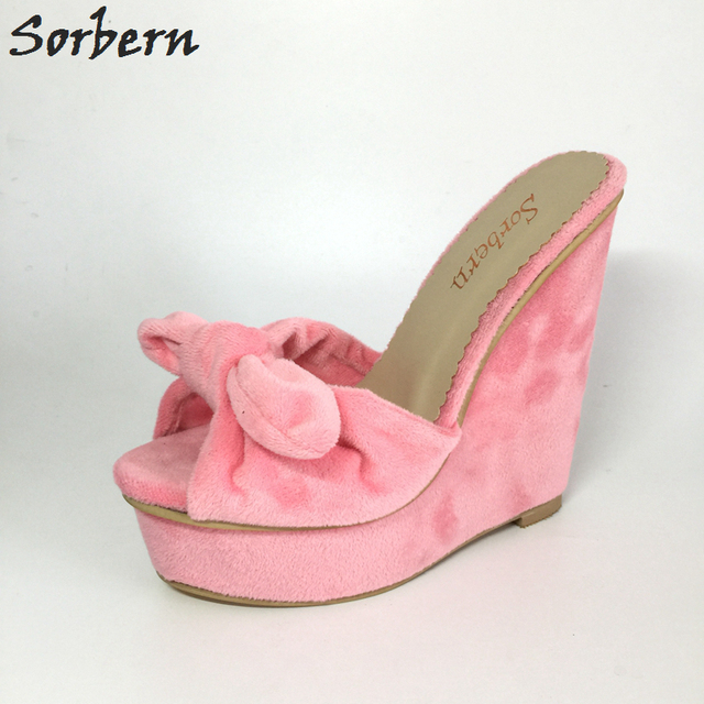 e5a99f26f78 Sweet Slide Women Sandals Flock Slingbacks Platform Wedges High Heels Pink  Bowtie Peep Toe Summer Concise Girls Sandals Shoes