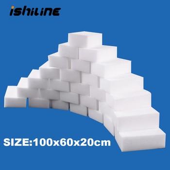 100 unids/lote esponja de melamina Borrador de esponja mágico limpiador de melamina para Cocina Oficina Baño Nano esponjas de limpieza 10x6x2cm
