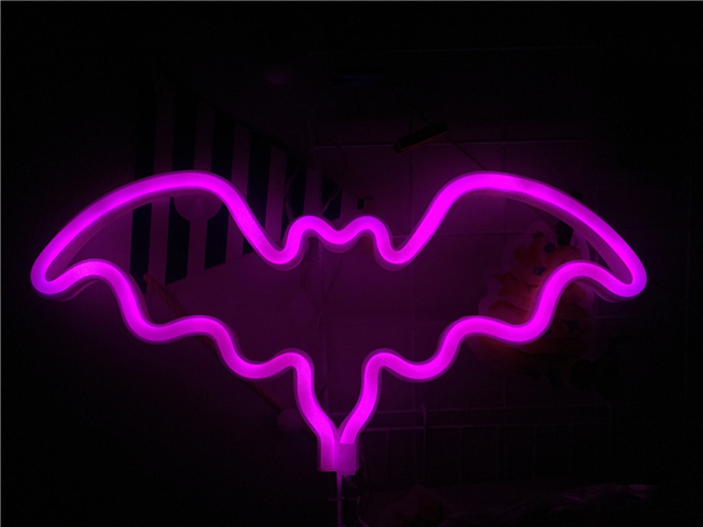 Novelty Lights Pink Bat Signs Neon Usb Wall Bar Party Wedding Supplies Decorative Plates