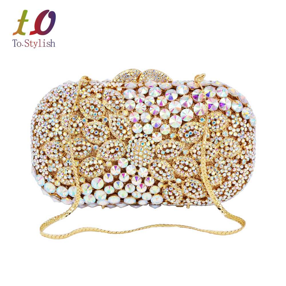 ФОТО Designer AB silver Sparkle Luxury Diamond Crystal Evening Clutch Bag Gold color With Chain Handbags female soiree Purse SC526