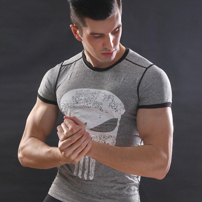 New fitness compression shirt men punisher skull t shirt superhero bodybuilding tight short sleeve t shirt brand clothing tops-0