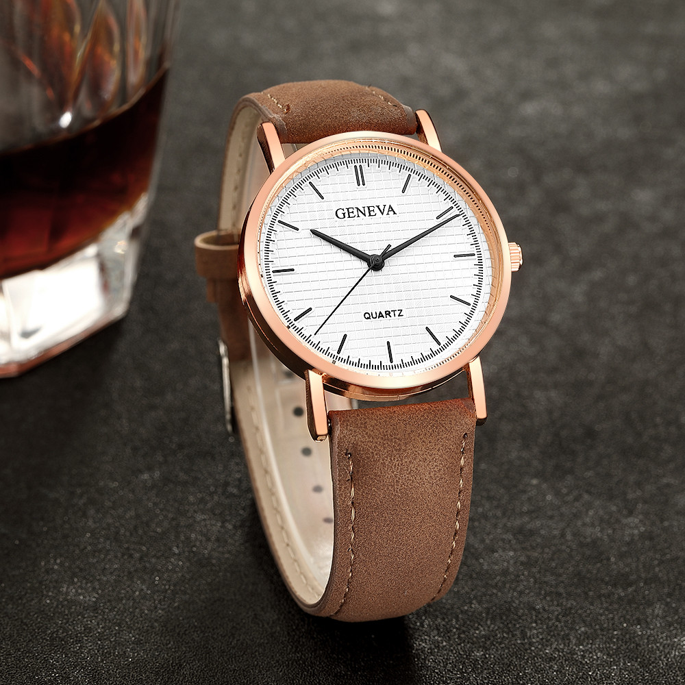 high quality Fashion Womens Ladies Watches Geneva Faux Leather Analog Quartz Wrist Watch Women Clock reloj mujer Elegant fashion roman numerals watches women s clock geneva leather strap analog quartz watch ladies casual pink wrist watches reloj lh