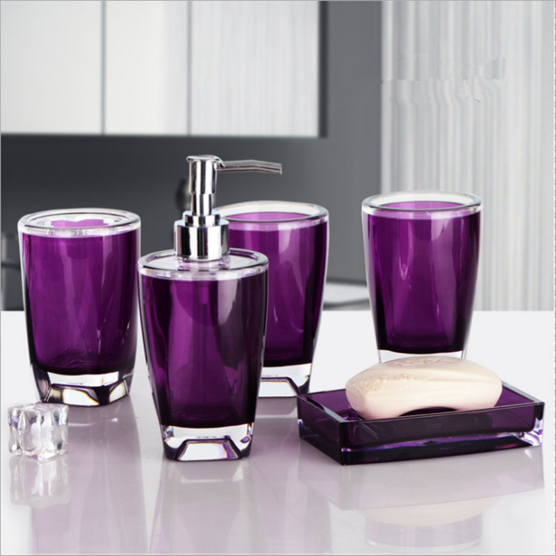 New European 5 Sets Bathroom Accessories Set Purple Hand Sanitizer Bottle Acrylic Rinsing Mug Soapbox Bathroom