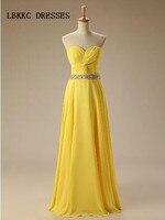 Желтые платья невесты Длинные Chifon с поясом бисером официальная Вечеринка Платья Vestidos De Madrinha Праздничное платье