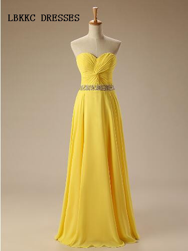 Yellow Bridesmaid Dresses Long Chifon With Sash Beaded Formal Party Gowns Vestidos De Madrinha Vestido De Festa