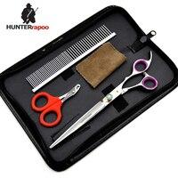 HUNTERrapoo 30% off 8 inch roze/blauw haar snijden schaar nail clipper kam en tas voor dier hond grooming tesoura HT9139