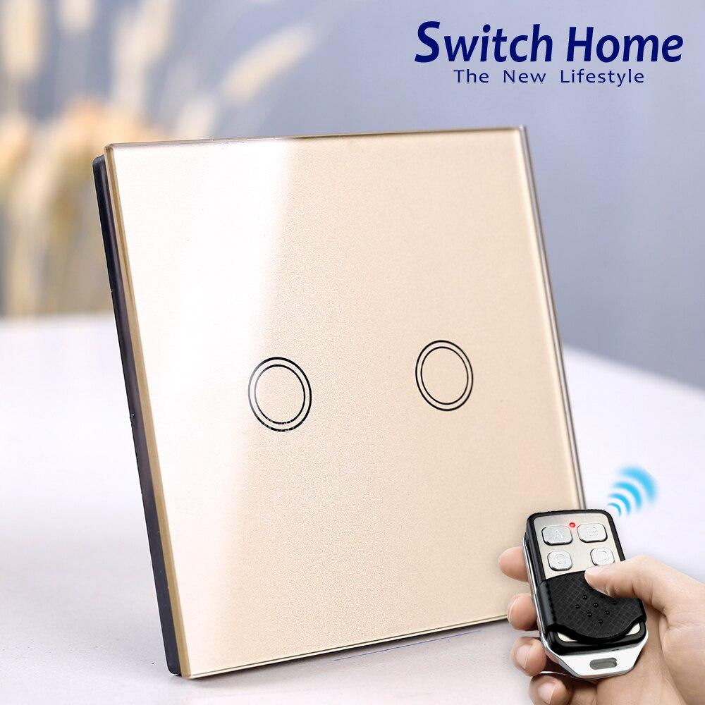 Inalámbrico pared táctil de interruptor de la luz de la UE estándar inteligente interruptor de la luz. 130-240 V 1234 banda de Panel de vidrio de Control remoto táctil de interruptor de pared