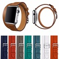 Fashion Extra Long Bracelet Strap For Series 2 Double Tour Litchi Genuine Leather Watchband for Apple Watch iWatch 1st 2nd