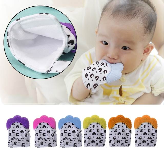 3 pcs Silicone Baby Teething Mitten Wrapper Sound Teether Glove Toddler Infant Gifts