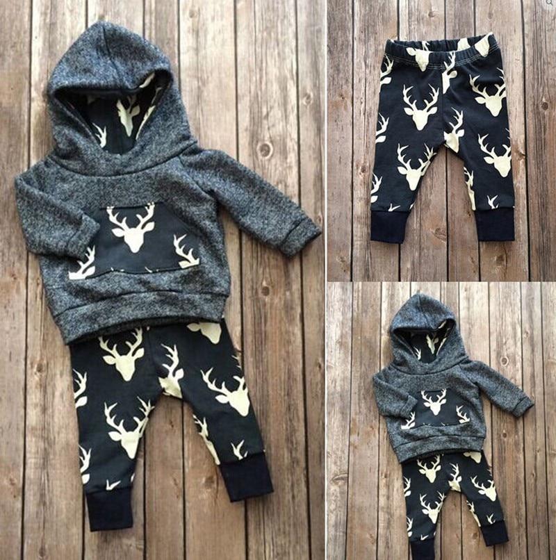 New 2018 autumn baby boy clothes fashion cotton long sleeved Deer hooded t-shirt+pants newborn 2 pcs girl clothing