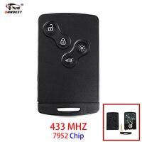 Dandkey 4 Button Remote Key Fob 433MHZ PCF7952 Chip For Renault Megane Scenic Laguna Koleos Clio Uncut Blade Car Key Card