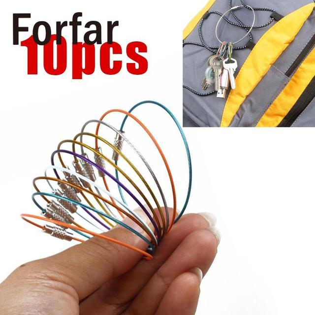 10pcs Outdoor Hiking Mixed Color Stainless Steel Wire Rope Keychain Cable Key Ring Keyring Holder Tool with Screw Lock Camping