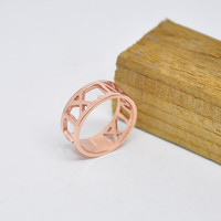 Wholesale Rose Gold Roman Number Ring Personalized Date Hollow Band Promise Wedding Jewelry Christmas Gift