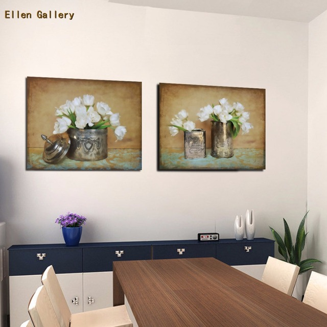 2 Poeces Wandmalerei Blumen Vase Leinwand Gemälde Cuadros