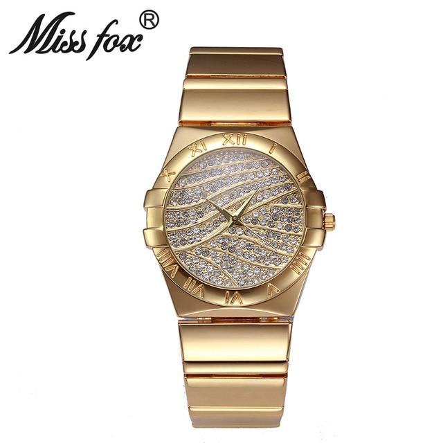 Senhorita Fox Marca Moda Algarismos Romanos Ouro WatchDiamond Face do Relógio Para Senhoras Relógio de Quartzo Mulheres Rhinestone Relógios Montre Femme
