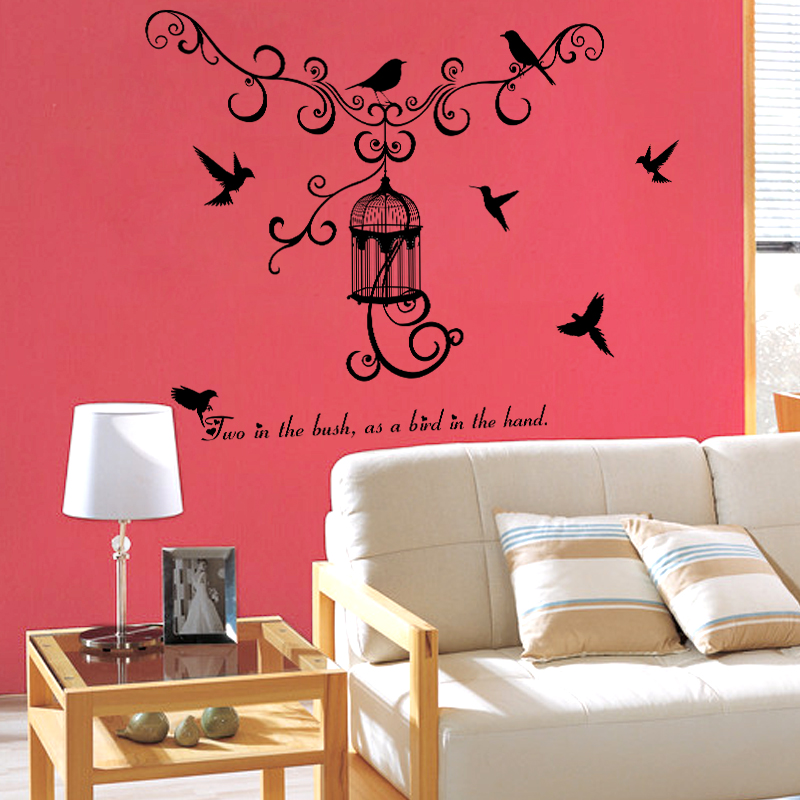 SK7055 Wall Switch Sticker Home Decoration Birdcage Wall Sticker Decal Home Decor Decal in Wall Stickers from Home Garden