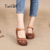 Tastabo Women Flats Genuine Leather Shoes Women Casual Loafers Flower Flats Shoes Soft Outsole Handmade Flats