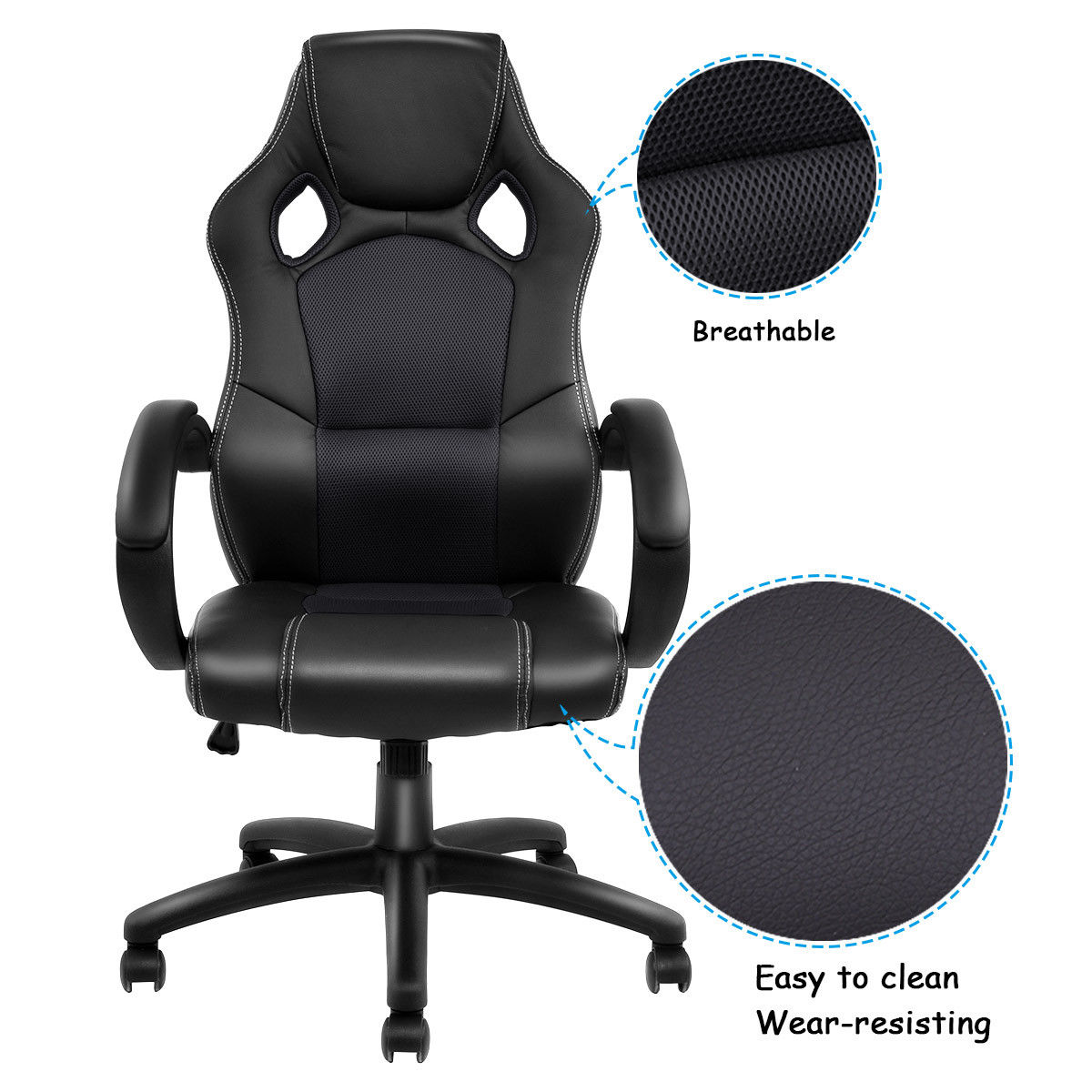 Bucket Racing Chair King Throne Rental Giantex Gaming High Back Seat Office Desk Swivel Executive Armchair Modern Furniture Hw54590bk In Chairs From