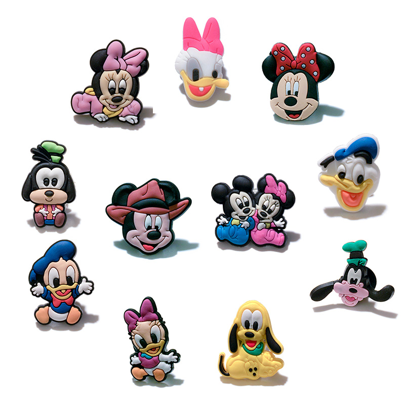 10-11pcs/Set Mickey Cartoon Pins badges Brooches Collection DIY Charms Fit Hat Clothes Bags Shoes Decoration X-mas Party Gift new 1pcs single the secret life of pet decoration pvc pins badges brooches collection diy charms fit clothes bags shoes kid gift