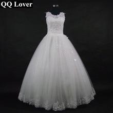 QQ Lover 2018 Új Csipke Backless Ball Gown esküvői ruha menyasszonyi esküvői ruha