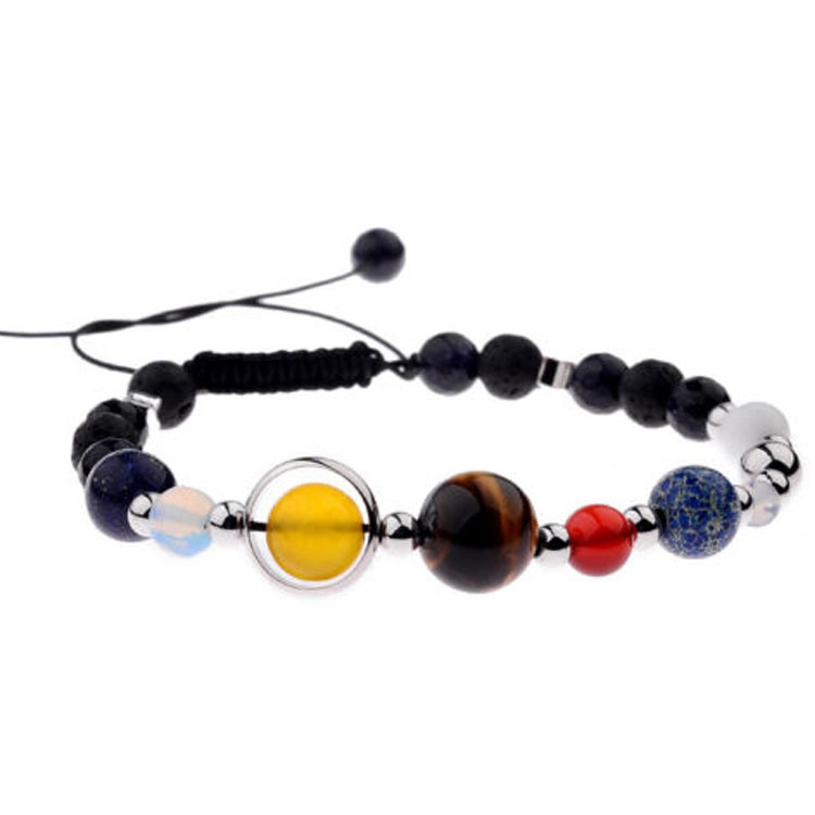 7 Chakra Natural Stone Galaxy Beads Bracelet Universe Eight Planets Solar System Guardian Star Bangle Bracelet for Women