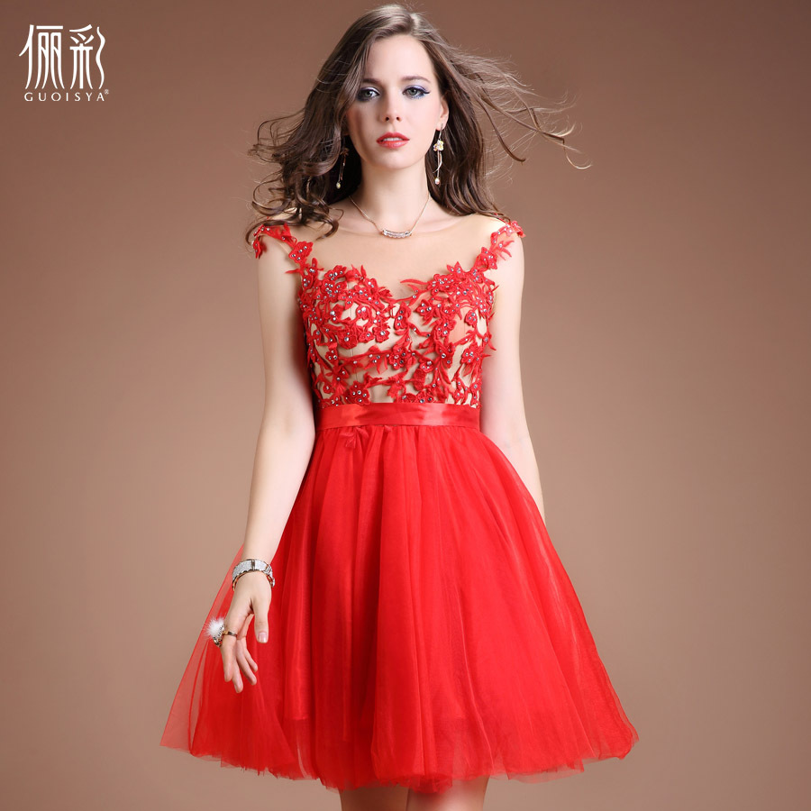 2015 Beautiful Ball Gown High Quality Chiffon Dress V Neck