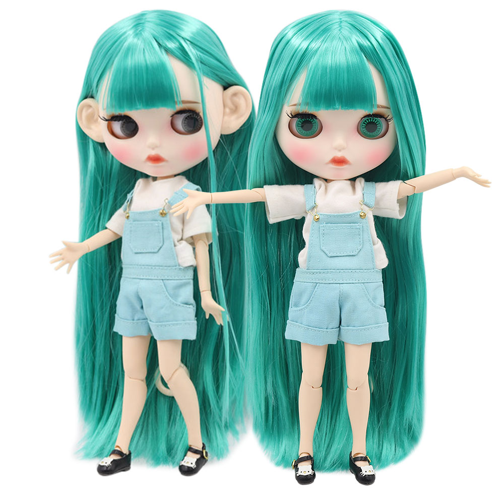 ICY factory blyth doll 1 6 bjd white skin joint body green hair new matte face