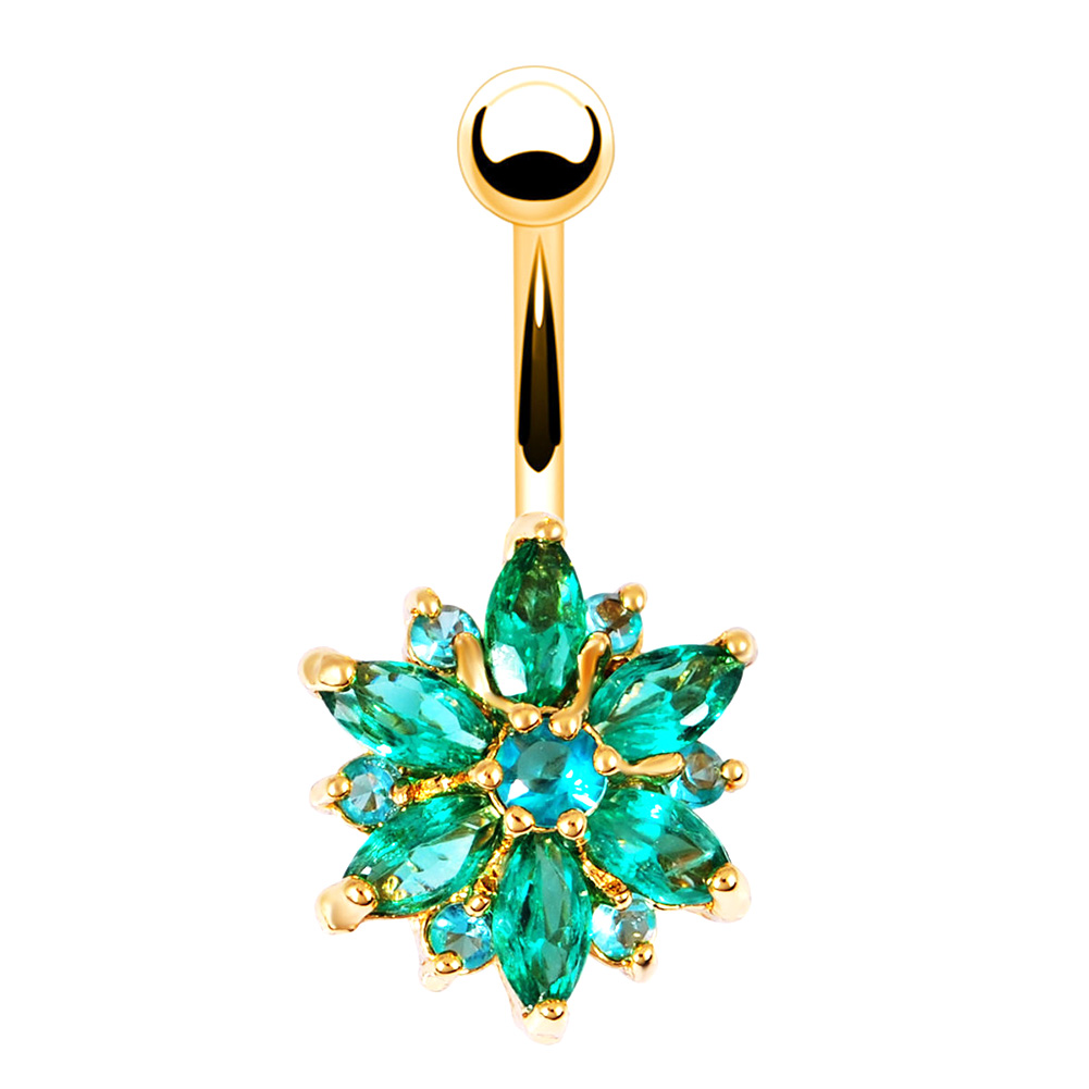 Body Piercing Jewelry Flower Shaped Rhinestone Navel Belly ...