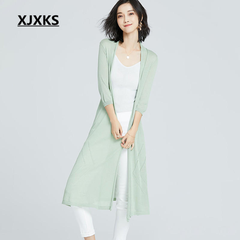 XJXKS Knitted thin sweater cardigan women's 2019 spring summer new comfortable linen women's sun protection clothing cardigan