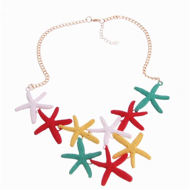 2016 Moda Bohemia Starfish Collares y Colgantes Del Encanto Joyería Fina Maxi Playa de Vacaciones de Verano Estrellas de Mar Collares Babero de Las Mujeres