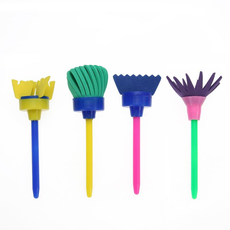 VODOOL 4Pcs/set Flower Art Paint Brush Rotate Spin Sponge Kids Children Graffiti Drawing Painting Toy School Stationery Supplier