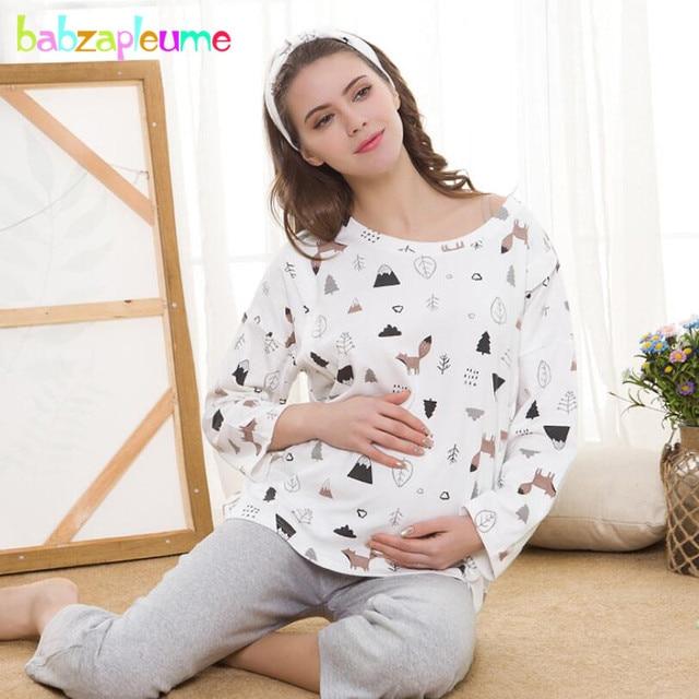 0009142b7151e 2018 Spring Fall Maternity Suit Set Nightwear Women Pregnant Sleepwear  Pregnancy Breast Feeding Clothes Nursing Pajamas