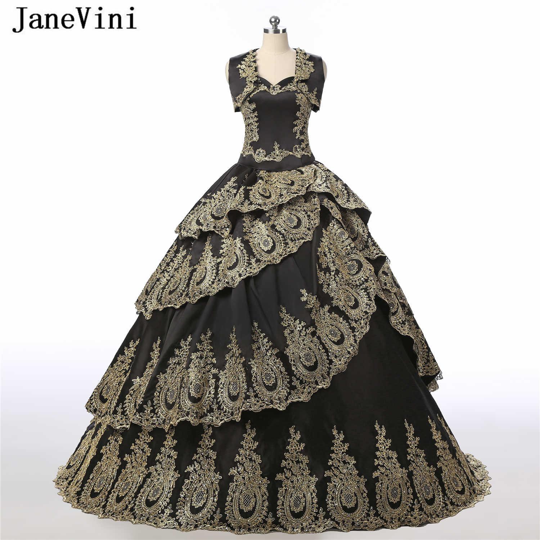 JaneVini robe de bal noire Quinceanera robes avec Cape 2019 luxe or dentelle Appliques perlées à plusieurs niveaux taffetas Pageant robes de fête