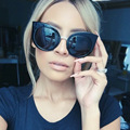 Cat Eye Round Fashion Women Mirrored Lens SUNGLASSES Designer XL Size Acetate Frame 98006 Oculos De Sol European Style