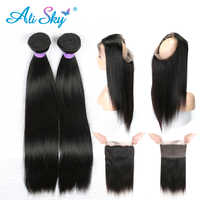 Raw Indian 2 Bundles Straight Hair Bundles with 360 lace Frontal Pre plucked with Baby Hair Free Part Ali Sky Remy 3PCS