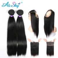 Raw Indian 2 Bundles Straight Hair Bundles with 360 lace Frontal Pre plucked with Baby Hair Free Part 1B Ali Sky NonRemy 3PCS