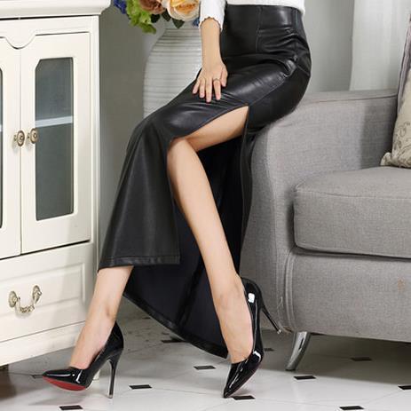 New PU Long Skirt Ladies High Waist Pencil Ankle Length Split Skirt