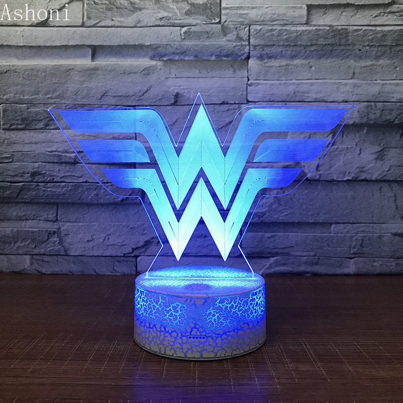 3D Acrylic LED Night Light Wonder Woman Logo Shape Touch 7 Color Changing Desk Table Lamp Party Decorative Light Christmas Gift