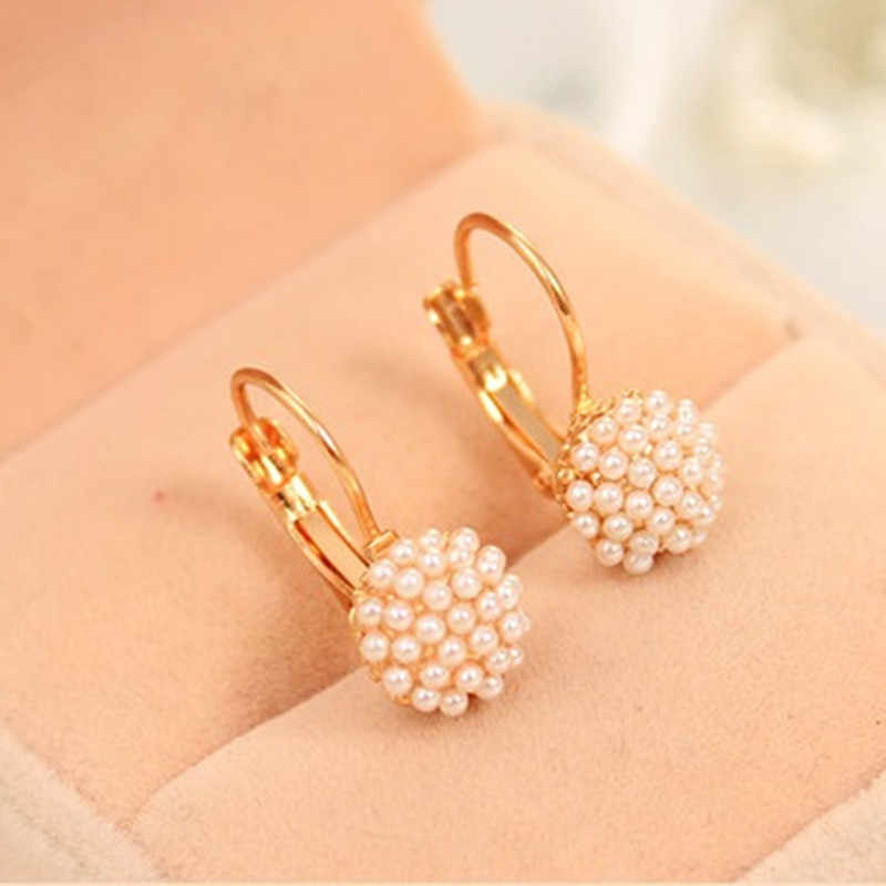 Hoop Earrings Sale Aros 2018 New Fashion Double Side Shining Pearl Hoop Big For Women Stainless Steel Ball Paragraph Earrings