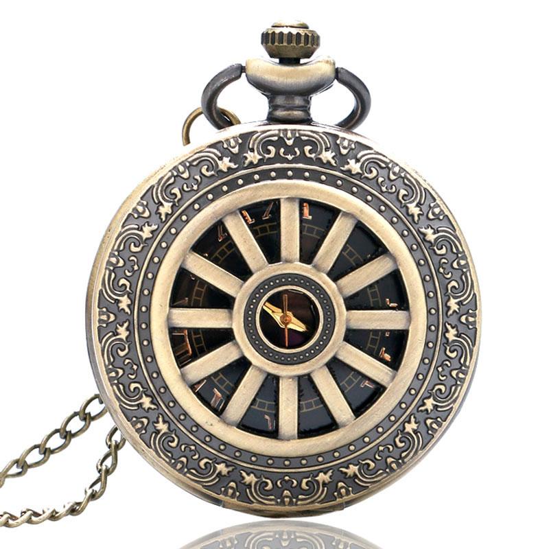 2019 Bronze Vintage Black Roman Numbers Dial Round Quartz Pocket Watch With Chain For Men Women Relogio De Bolso