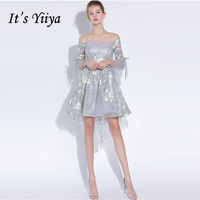 It's YiiYa Cocktail Dress 2018 Boat Neck Half Sleeve Party Flower Fashion Designer Elegant Short Cocktail Gowns LX1105