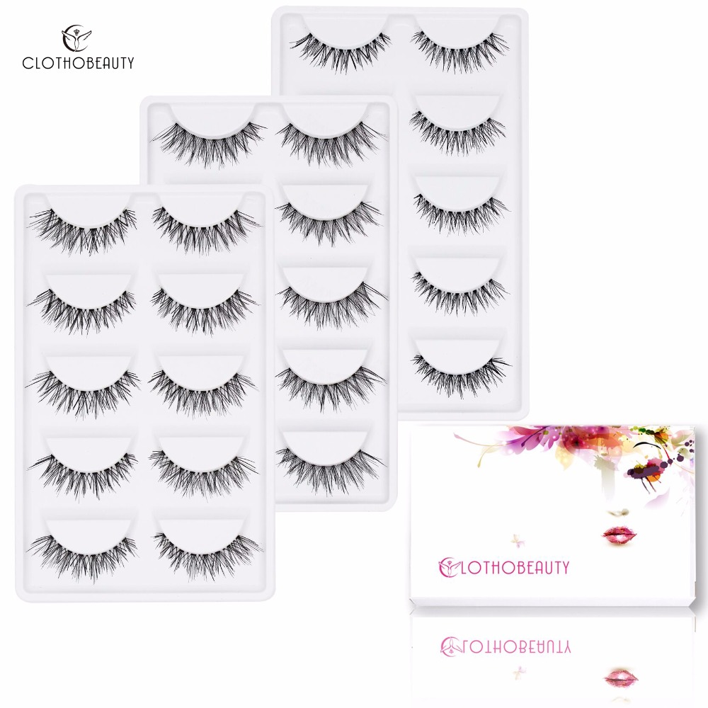 False Nature Eyelashes,CLOTHOBEAUTY 15 Pairs Handmade Fake Eyelashes,Demi Wispies Soft Invisible Band,Long/Thick Reusable(15-W1)