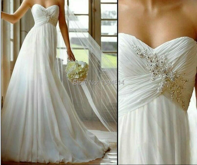 a13e6b75c35cc 2016 New Stock US Size 2-4-6-8-10-12-14-16-18-20 White Ivory Chiffon Lace  Applique Beading Diamond Wedding Dress Bridal Gown