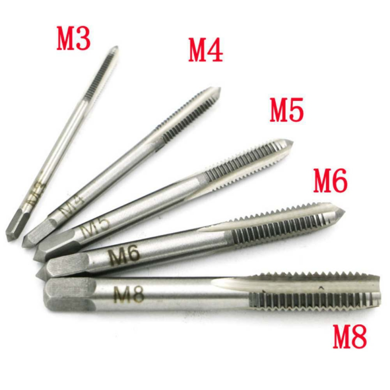 5pcs HSS Hand Tap M3 M4 M5 M6 M8 Tap & Die Machine Spiral Point Straight Fluted Screw Thread Metric Plug Hand Tools free shipping 1pc high quality hss 6542 full cnc grinded machine straight flute m48 3 0 tap screw tap for inner threading making