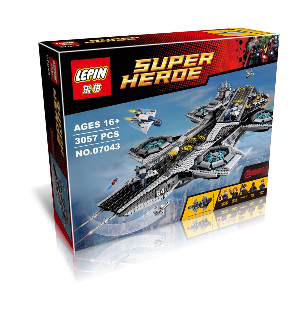 LEPIN 07043 Super Heroes Ultra large Type Air Warship Bricks Building Block Minifigure Best Toys Compatible