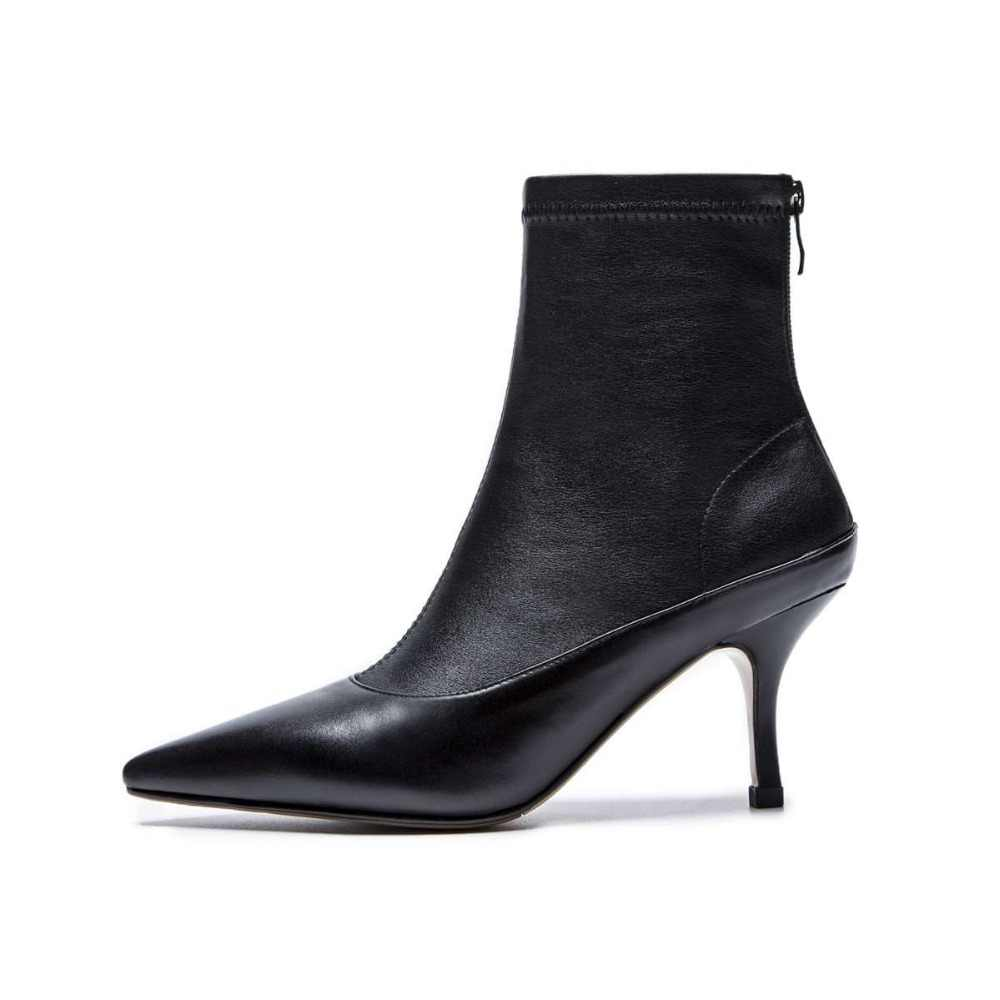 Ince tasarım hakiki deri avrupa tarzı yüksek topuklu ince oxford sivri burun fermuar beyaz siyah renk orta buzağı çizmeler l27