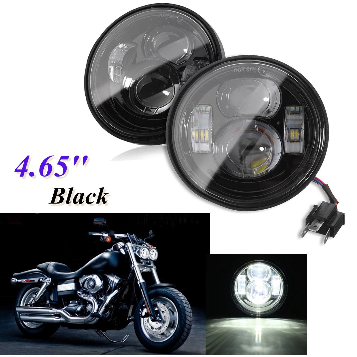 1 Pair 12V Motorcycle 4.65'' Round LED Headlight For Harley ... Fa Headlight Flasher Wiring Diagram on