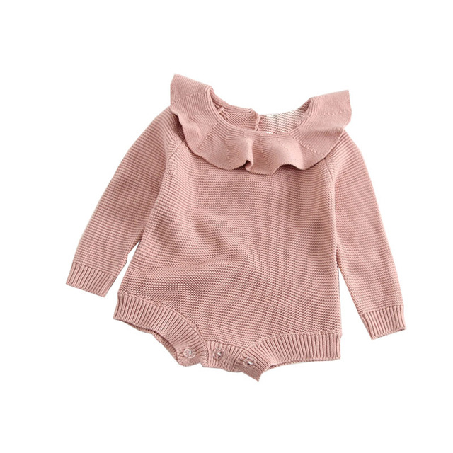 37c6ec15c Newborn Baby Girl Cotton Knitted Bodysuits Solid Long Sleeve Bodysuit Peter  Pan Collar Warm Outfits Roupas De Bebes Clothes