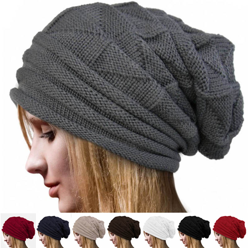2017 New Fahion Casual Unisex Women Men Ski Knitted Crochet Beanie Baggy Winter Warm Hat Caps Hot Sale Women Winter Cap